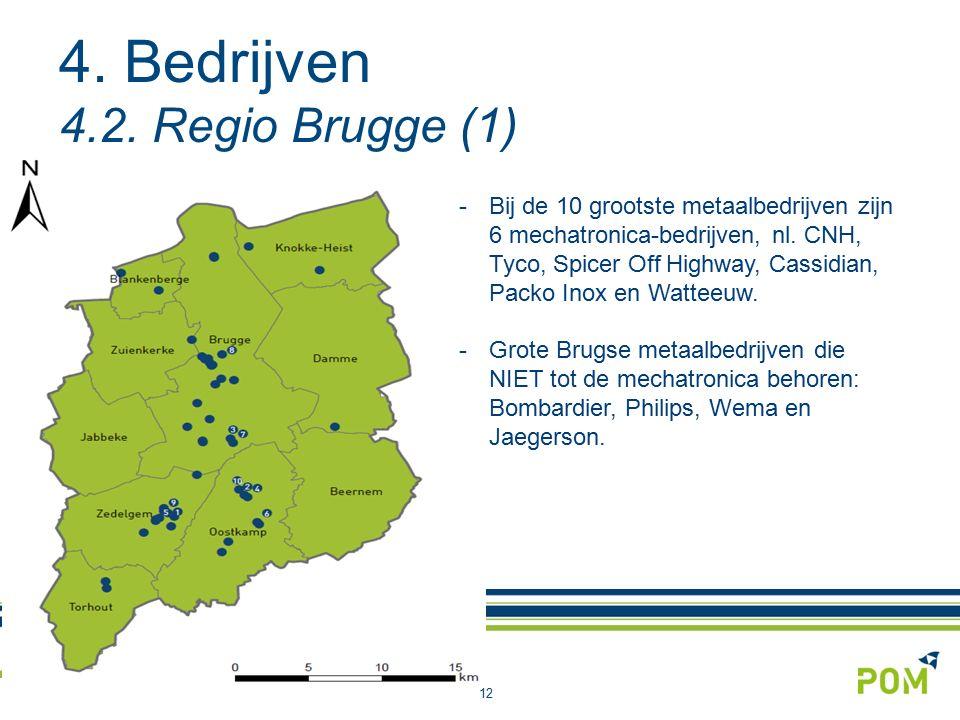 4. Bedrijven 4.2. Regio Brugge (1) 12 -Bij de 10 grootste metaalbedrijven zijn 6 mechatronica-bedrijven, nl. CNH, Tyco, Spicer Off Highway, Cassidian,