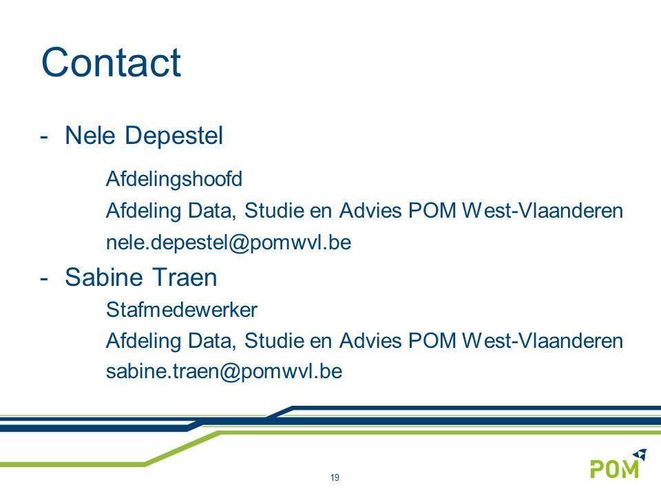 Contact -Nele Depestel Afdelingshoofd Afdeling Data, Studie en Advies POM West-Vlaanderen nele.depestel@pomwvl.be -Sabine Traen Stafmedewerker Afdeling Data, Studie en Advies POM West-Vlaanderen sabine.traen@pomwvl.be 19
