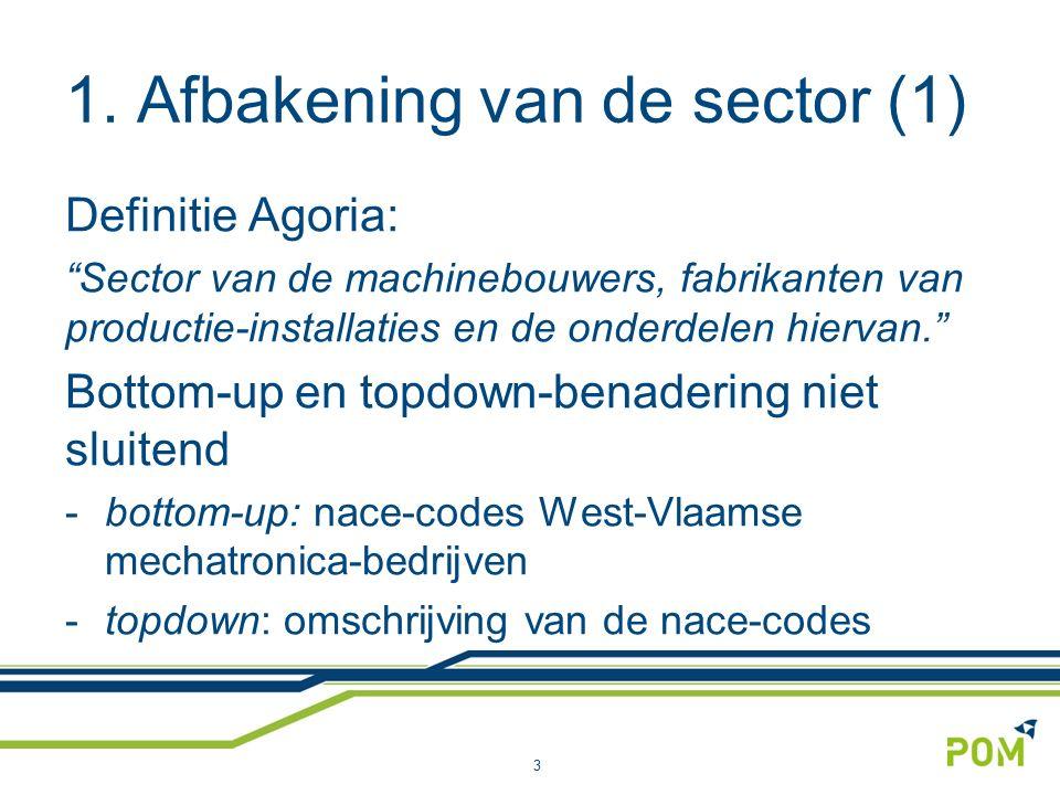 """1. Afbakening van de sector (1) Definitie Agoria: """"Sector van de machinebouwers, fabrikanten van productie-installaties en de onderdelen hiervan."""" Bot"""