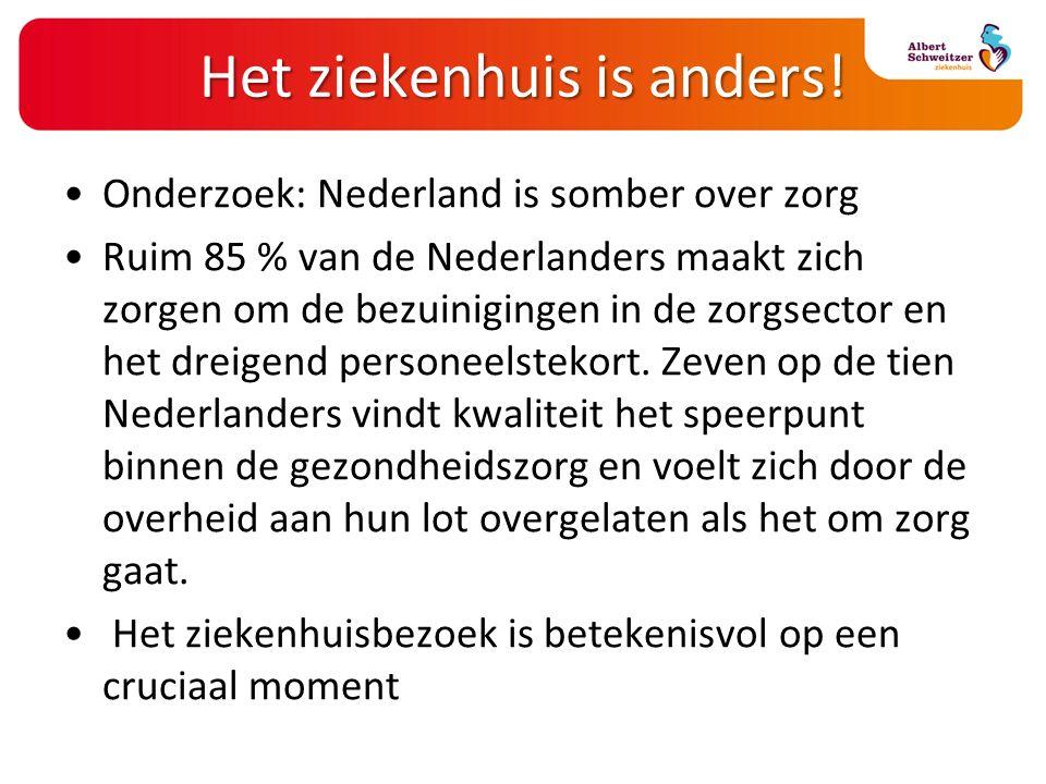 Het ziekenhuis is anders! Onderzoek: Nederland is somber over zorg Ruim 85 % van de Nederlanders maakt zich zorgen om de bezuinigingen in de zorgsecto