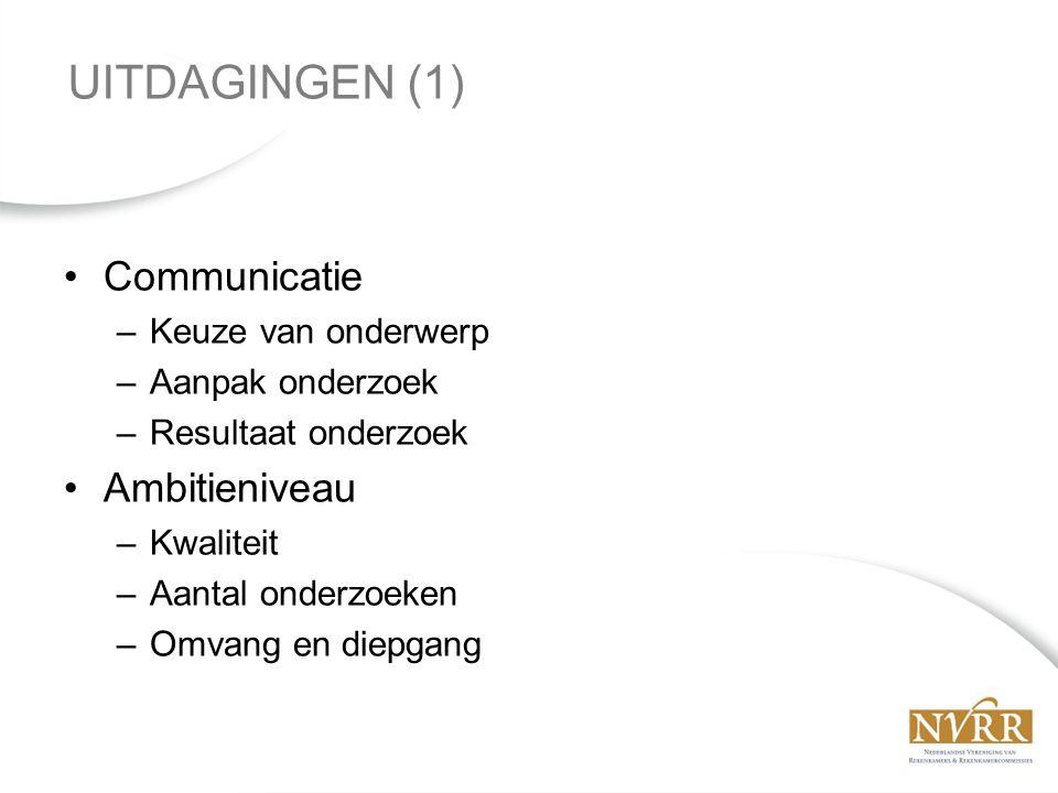 Communicatie –Keuze van onderwerp –Aanpak onderzoek –Resultaat onderzoek Ambitieniveau –Kwaliteit –Aantal onderzoeken –Omvang en diepgang UITDAGINGEN (1)