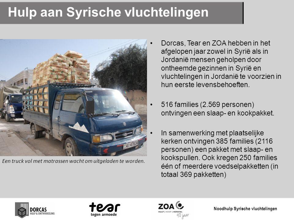 Hulp aan Syrische vluchtelingen Dorcas, Tear en ZOA hebben in het afgelopen jaar zowel in Syrië als in Jordanië mensen geholpen door ontheemde gezinnen in Syrië en vluchtelingen in Jordanië te voorzien in hun eerste levensbehoeften.
