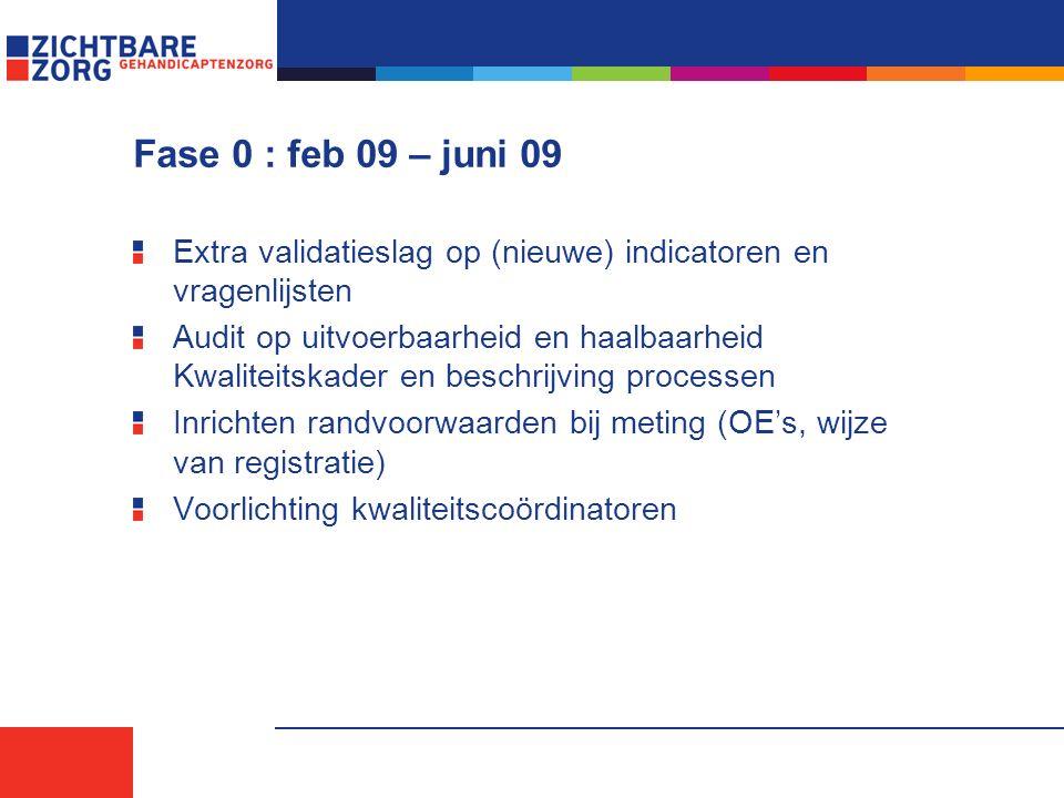Fase 0 : feb 09 – juni 09 Extra validatieslag op (nieuwe) indicatoren en vragenlijsten Audit op uitvoerbaarheid en haalbaarheid Kwaliteitskader en beschrijving processen Inrichten randvoorwaarden bij meting (OE's, wijze van registratie) Voorlichting kwaliteitscoördinatoren