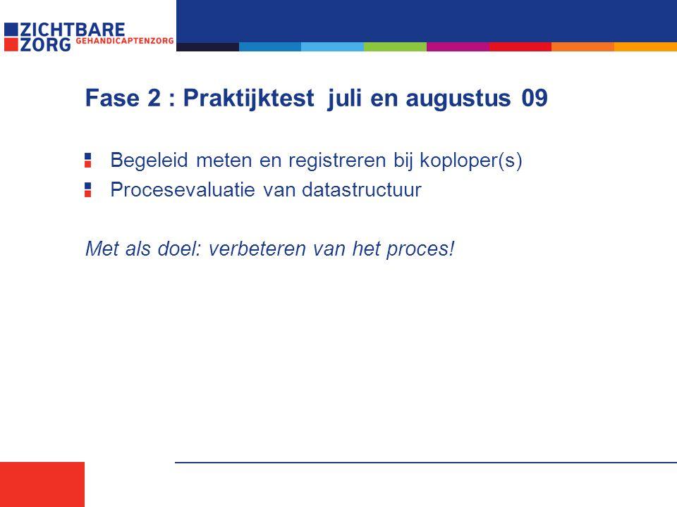 Fase 2 : Praktijktest juli en augustus 09 Begeleid meten en registreren bij koploper(s) Procesevaluatie van datastructuur Met als doel: verbeteren van het proces!