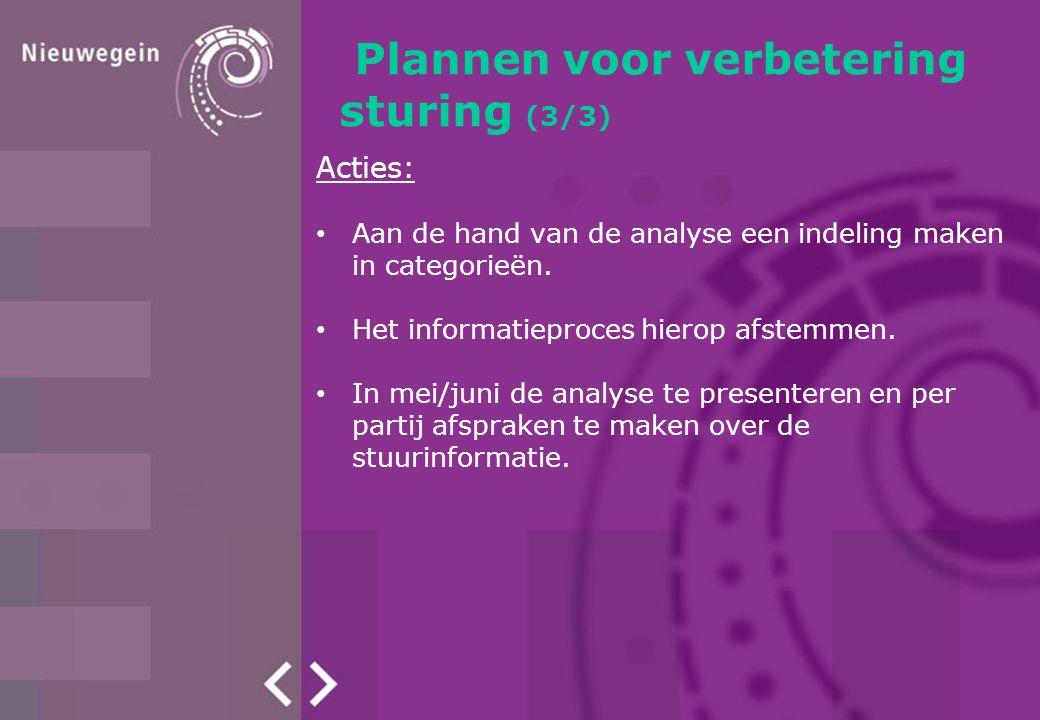 Plannen voor verbetering sturing (3/3) Acties: Aan de hand van de analyse een indeling maken in categorieën.