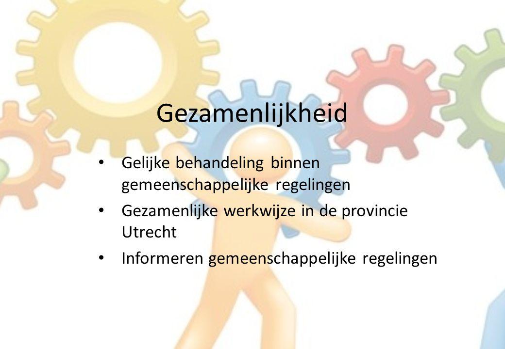 Gezamenlijkheid Gelijke behandeling binnen gemeenschappelijke regelingen Gezamenlijke werkwijze in de provincie Utrecht Informeren gemeenschappelijke regelingen