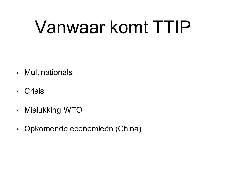 Vanwaar komt TTIP Multinationals Crisis Mislukking WTO Opkomende economieën (China)