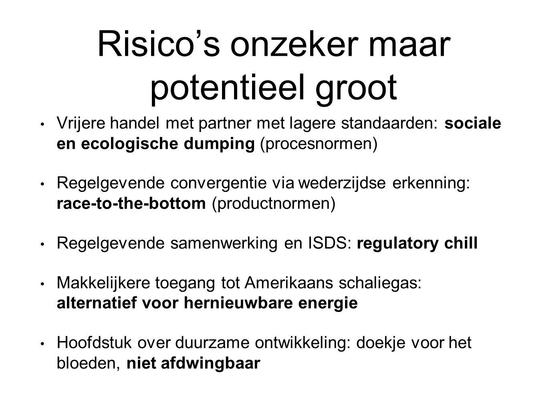 Risico's onzeker maar potentieel groot Vrijere handel met partner met lagere standaarden: sociale en ecologische dumping (procesnormen) Regelgevende c