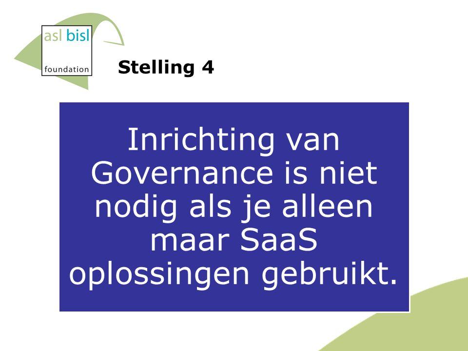Stelling 4 Inrichting van Governance is niet nodig als je alleen maar SaaS oplossingen gebruikt.