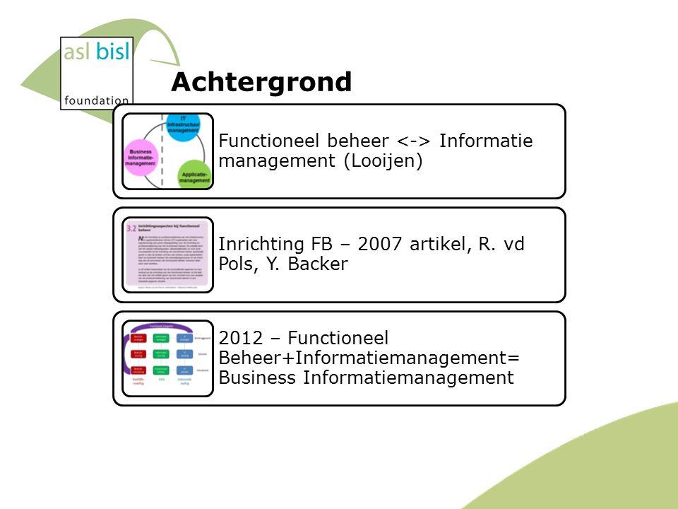 Achtergrond Functioneel beheer Informatie management (Looijen) Inrichting FB – 2007 artikel, R.