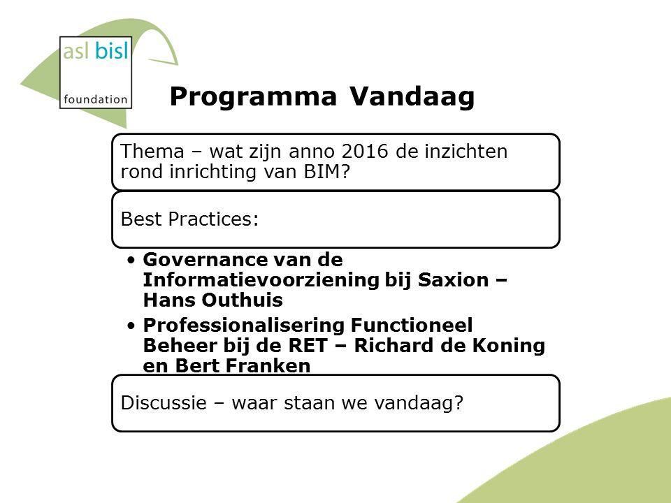 Programma Vandaag Thema – wat zijn anno 2016 de inzichten rond inrichting van BIM.