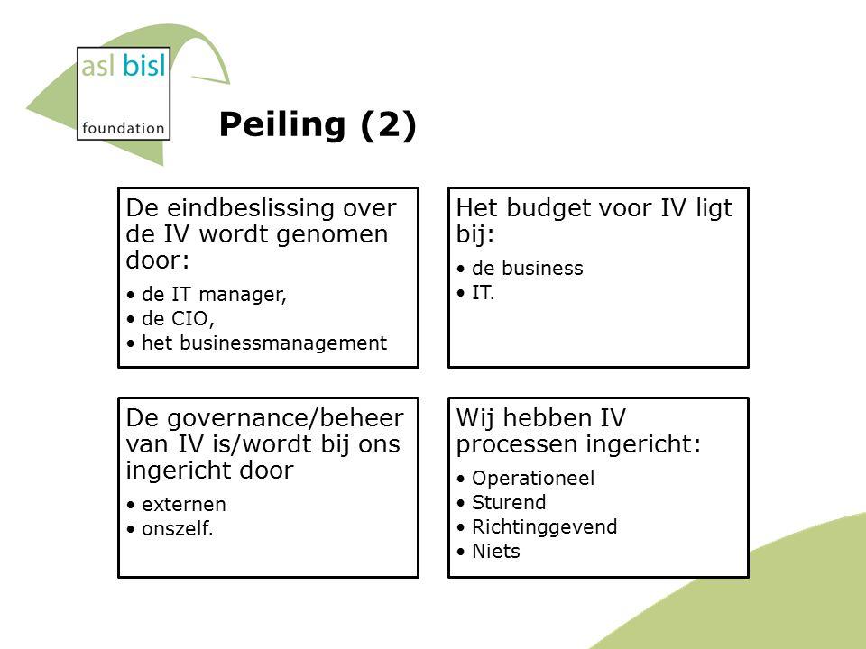 Peiling (2) De eindbeslissing over de IV wordt genomen door: de IT manager, de CIO, het businessmanagement Het budget voor IV ligt bij: de business IT.