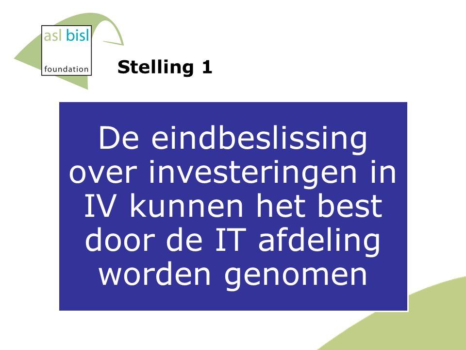 Stelling 1 De eindbeslissing over investeringen in IV kunnen het best door de IT afdeling worden genomen