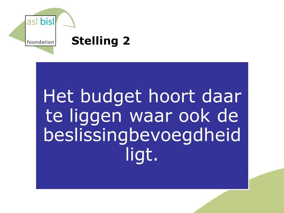 Stelling 2 Het budget hoort daar te liggen waar ook de beslissingbevoegdheid ligt.