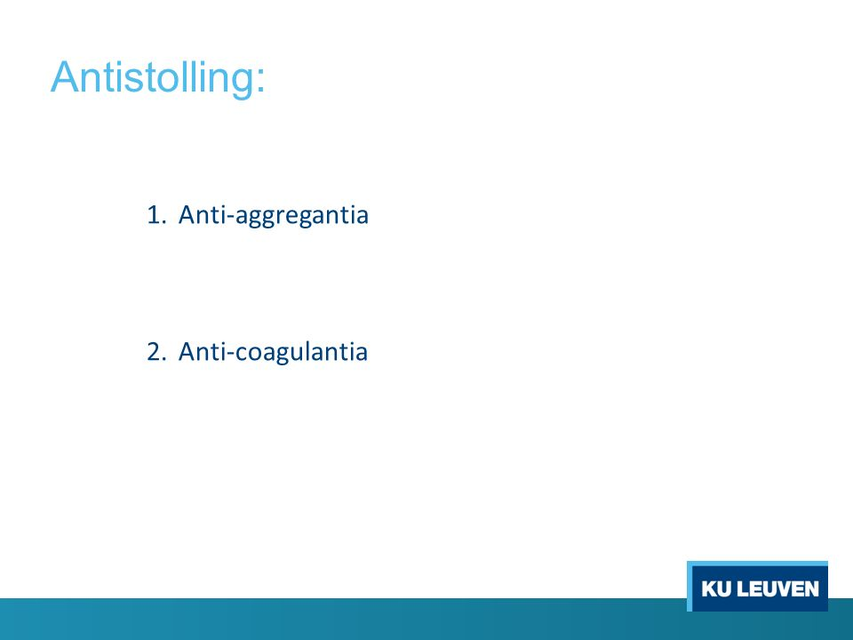 NOAC: Nederland ACTA: NIET STOPPEN -Maximaal 3 extracties of 1 verstandskies -Apexresectie -Parodontologie, endodontie -Abcesincisie -Maximaal 3 implantaatplaatsingen Bij grotere ingrepen: - Stoppen zoals internationale voorschriften België: internationale richtlijn NIET STOPPEN bij: -Routinetandheelkunde -Endodontie STOPPEN: afhankelijk van bloedingsrisico: -Alle andere behandelingen