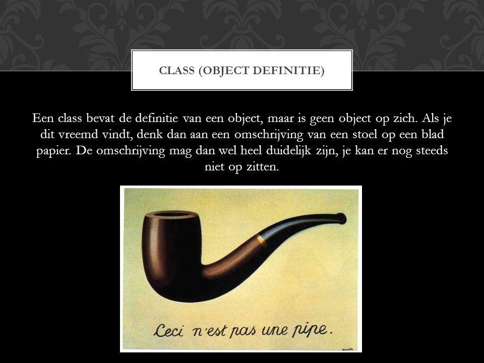 Een class bevat de definitie van een object, maar is geen object op zich. Als je dit vreemd vindt, denk dan aan een omschrijving van een stoel op een