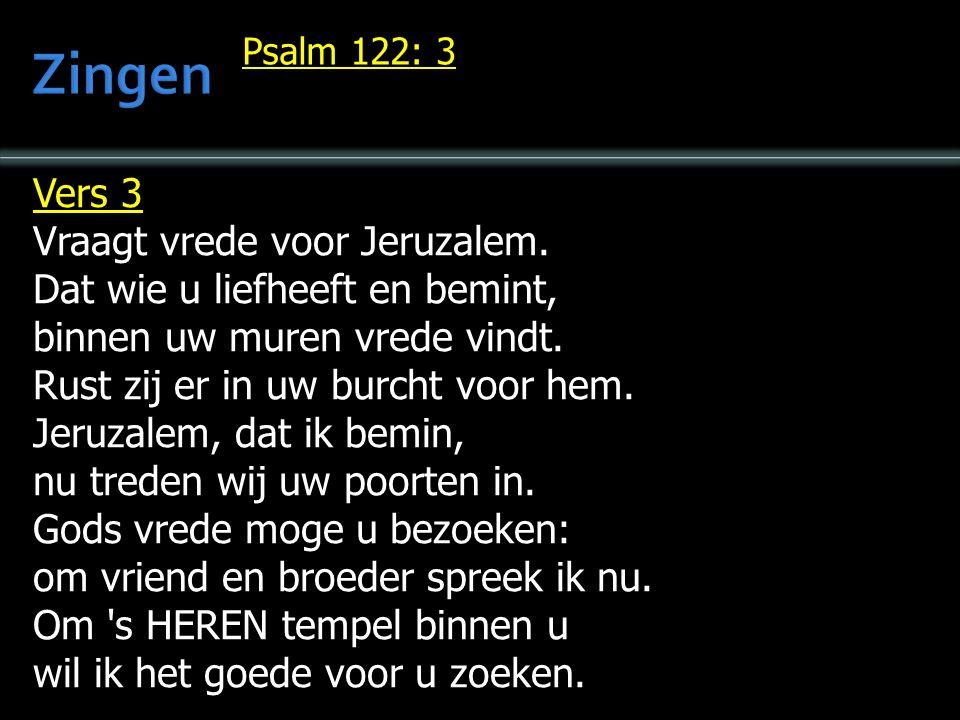 Vers 3 Vraagt vrede voor Jeruzalem. Dat wie u liefheeft en bemint, binnen uw muren vrede vindt.