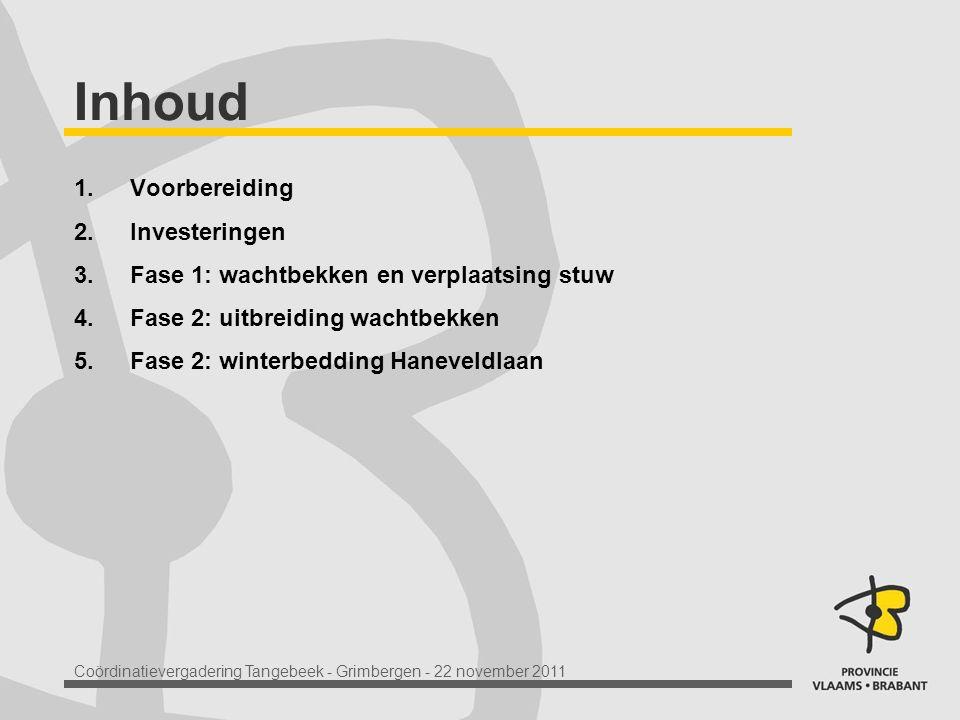 Coördinatievergadering Tangebeek - Grimbergen - 22 november 2011 Inhoud 1.Voorbereiding 2.Investeringen 3.Fase 1: wachtbekken en verplaatsing stuw 4.Fase 2: uitbreiding wachtbekken 5.Fase 2: winterbedding Haneveldlaan