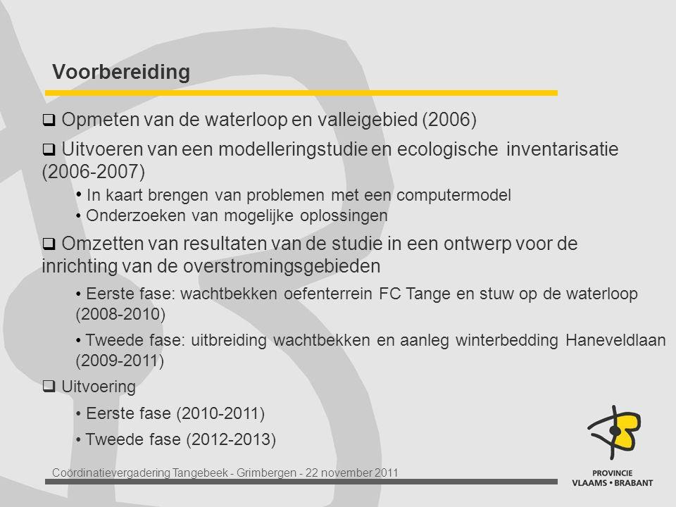 Coördinatievergadering Tangebeek - Grimbergen - 22 november 2011 Voorbereiding  Opmeten van de waterloop en valleigebied (2006)  Uitvoeren van een modelleringstudie en ecologische inventarisatie (2006-2007) In kaart brengen van problemen met een computermodel Onderzoeken van mogelijke oplossingen  Omzetten van resultaten van de studie in een ontwerp voor de inrichting van de overstromingsgebieden Eerste fase: wachtbekken oefenterrein FC Tange en stuw op de waterloop (2008-2010) Tweede fase: uitbreiding wachtbekken en aanleg winterbedding Haneveldlaan (2009-2011)  Uitvoering Eerste fase (2010-2011) Tweede fase (2012-2013)