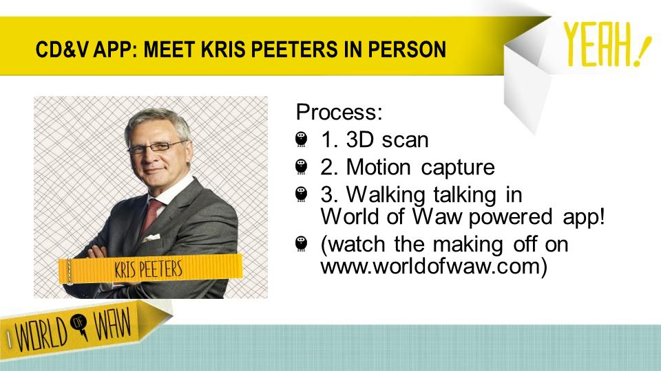CD&V APP: MEET KRIS PEETERS IN PERSON Process: 1. 3D scan 2.