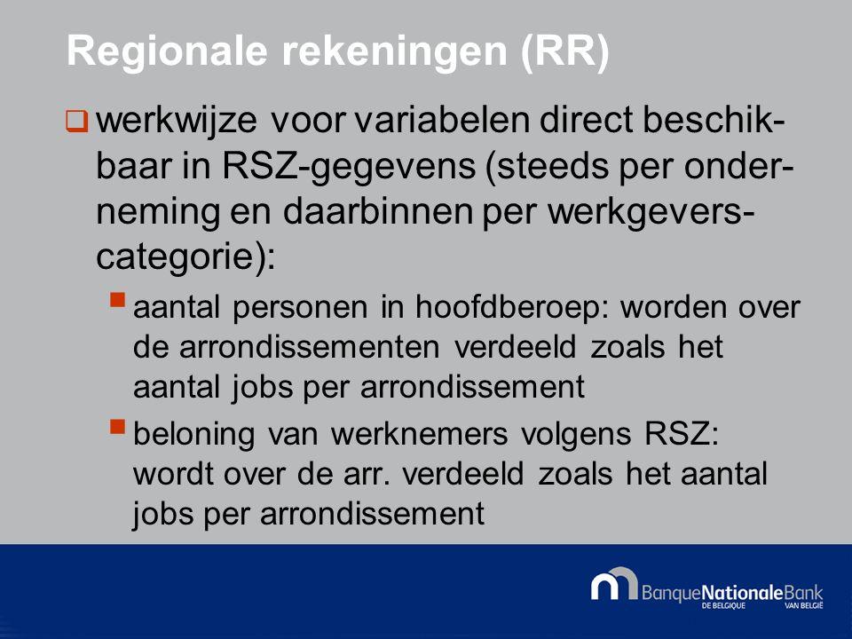 © National Bank of Belgium Regionale rekeningen (RR)  werkwijze voor variabelen direct beschik- baar in RSZ-gegevens (steeds per onder- neming en daarbinnen per werkgevers- categorie):  aantal personen in hoofdberoep: worden over de arrondissementen verdeeld zoals het aantal jobs per arrondissement  beloning van werknemers volgens RSZ: wordt over de arr.