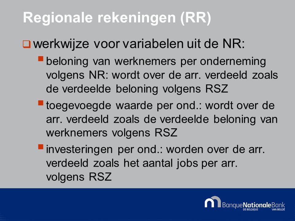 © National Bank of Belgium Regionale rekeningen (RR)  werkwijze voor variabelen uit de NR:  beloning van werknemers per onderneming volgens NR: wordt over de arr.