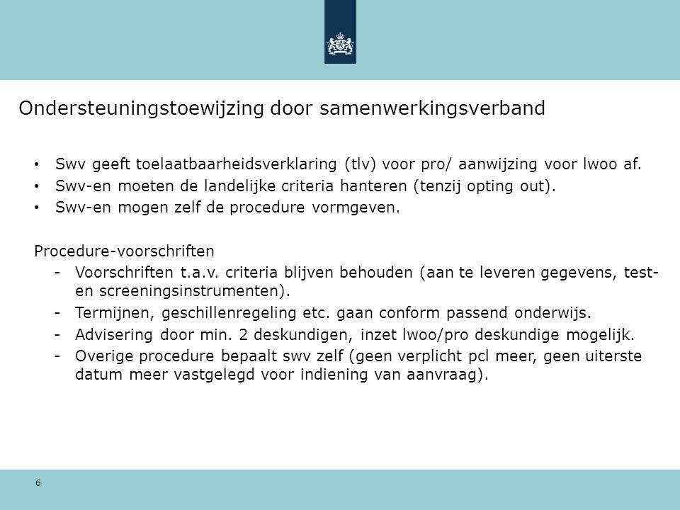 6 Ondersteuningstoewijzing door samenwerkingsverband Swv geeft toelaatbaarheidsverklaring (tlv) voor pro/ aanwijzing voor lwoo af.