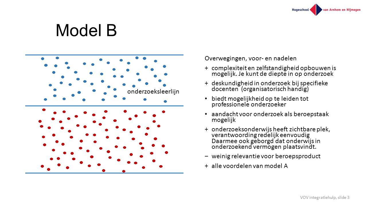 Model B Overwegingen, voor- en nadelen +complexiteit en zelfstandigheid opbouwen is mogelijk. Je kunt de diepte in op onderzoek +deskundigheid in onde
