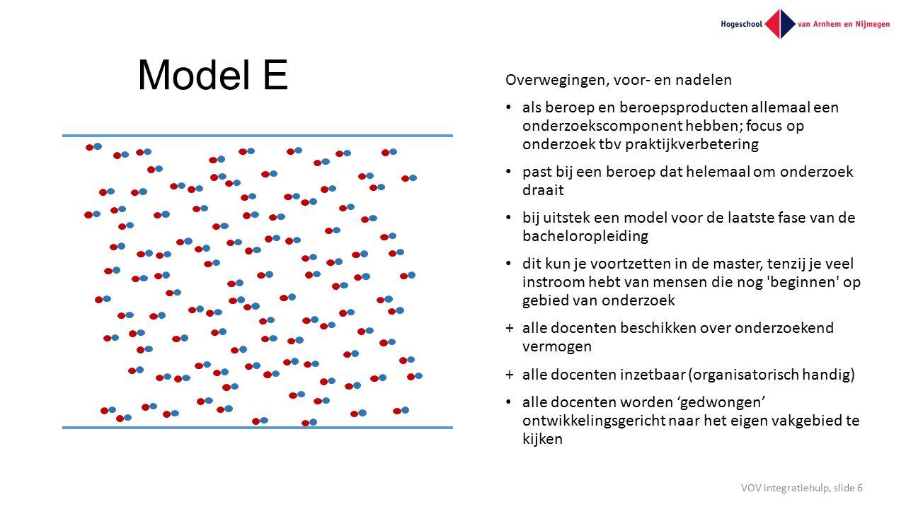 Model E Overwegingen, voor- en nadelen als beroep en beroepsproducten allemaal een onderzoekscomponent hebben; focus op onderzoek tbv praktijkverbeter