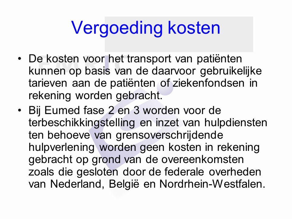 Vergoeding kosten De kosten voor het transport van patiënten kunnen op basis van de daarvoor gebruikelijke tarieven aan de patiënten of ziekenfondsen
