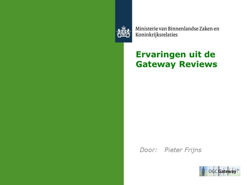 INHOUD 1.De Gateway Reviewmethode 2.Ministeries waarbinnen een Gateway Review is uitgevoerd 3.Domeinen waarbinnen een Gateway Review is uitgevoerd 4.Verhouding kerndepartement - uitvoeringsorganisatie 5.Redenen voor het niet uitvoeren van een Gateway Review 6.Verdeling van de Delivery Confidence-kleuren 7.De aanbevelingen per categorie 8.De trends uit de Gateway Reviews