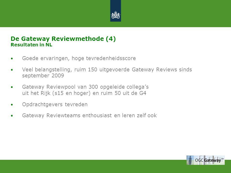 De Gateway Reviewmethode (4) Resultaten in NL Goede ervaringen, hoge tevredenheidsscore Veel belangstelling, ruim 150 uitgevoerde Gateway Reviews sind