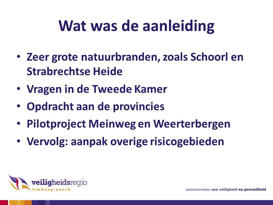 Wat was de aanleiding Zeer grote natuurbranden, zoals Schoorl en Strabrechtse Heide Vragen in de Tweede Kamer Opdracht aan de provincies Pilotproject Meinweg en Weerterbergen Vervolg: aanpak overige risicogebieden