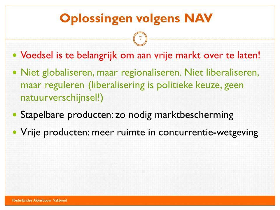 Conclusies NAV is blij met aandacht voor zwakke positie van teler in de markt NAV blijft lobbyen voor een ander landbouwbeleid Een APM kan positie producent iets versterken Een meer direct contact tussen producent en consument biedt mogelijkheden Nederlandse Akkerbouw Vakbond 8