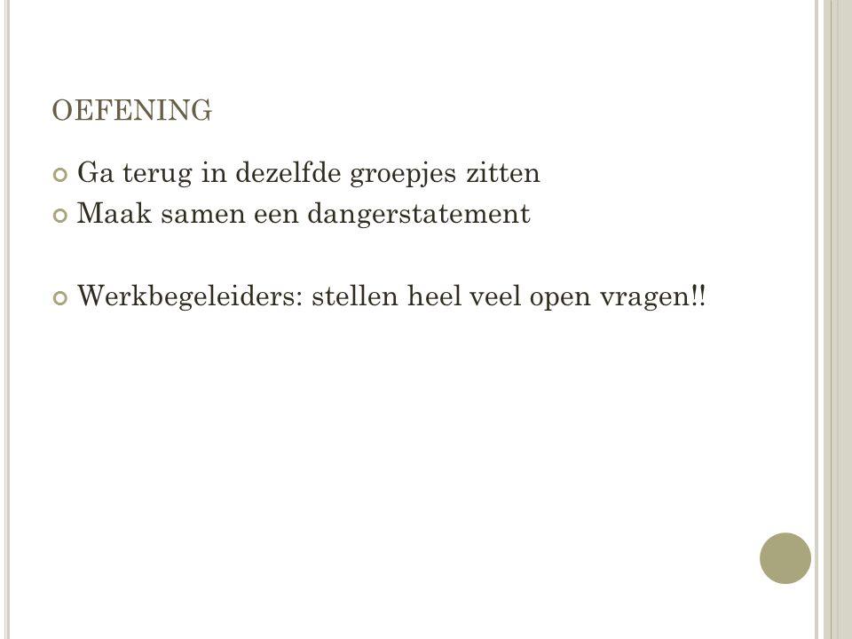 OEFENING Ga terug in dezelfde groepjes zitten Maak samen een dangerstatement Werkbegeleiders: stellen heel veel open vragen!!