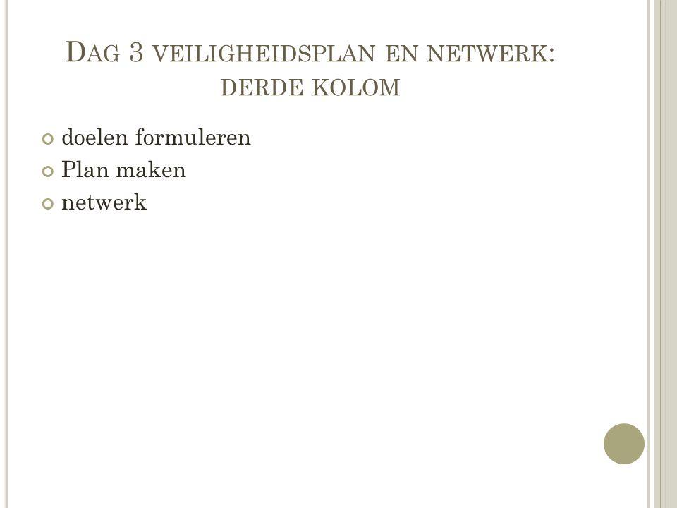 D AG 3 VEILIGHEIDSPLAN EN NETWERK : DERDE KOLOM doelen formuleren Plan maken netwerk