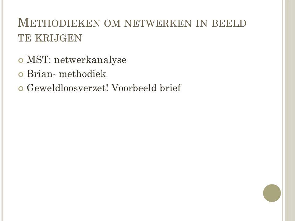 M ETHODIEKEN OM NETWERKEN IN BEELD TE KRIJGEN MST: netwerkanalyse Brian- methodiek Geweldloosverzet! Voorbeeld brief