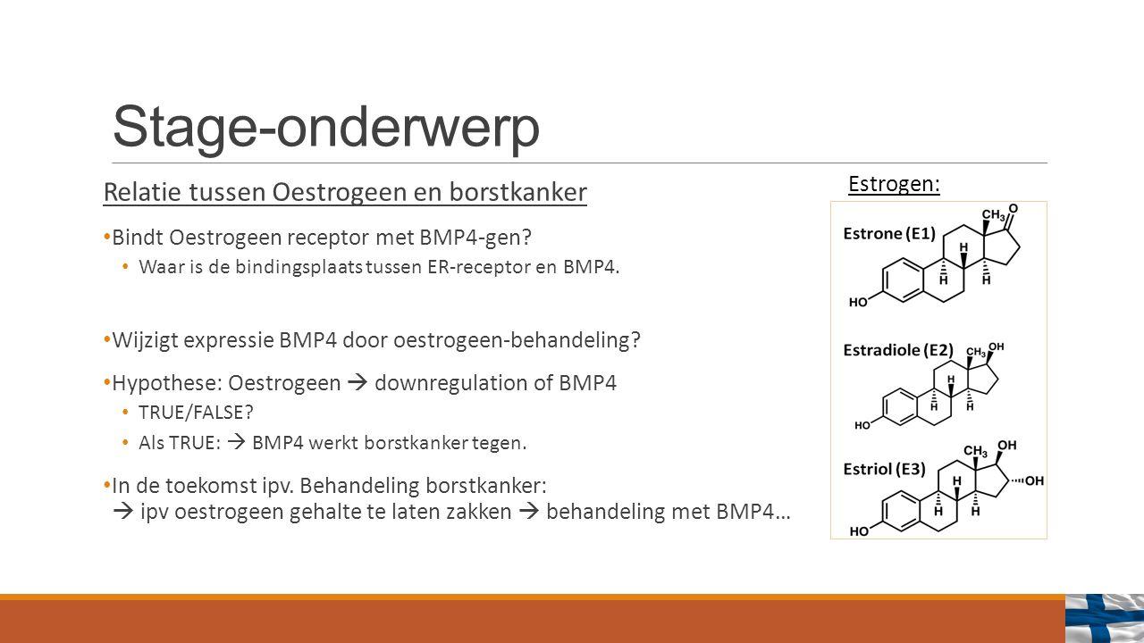 Stage-onderwerp Relatie tussen Oestrogeen en borstkanker Bindt Oestrogeen receptor met BMP4-gen.