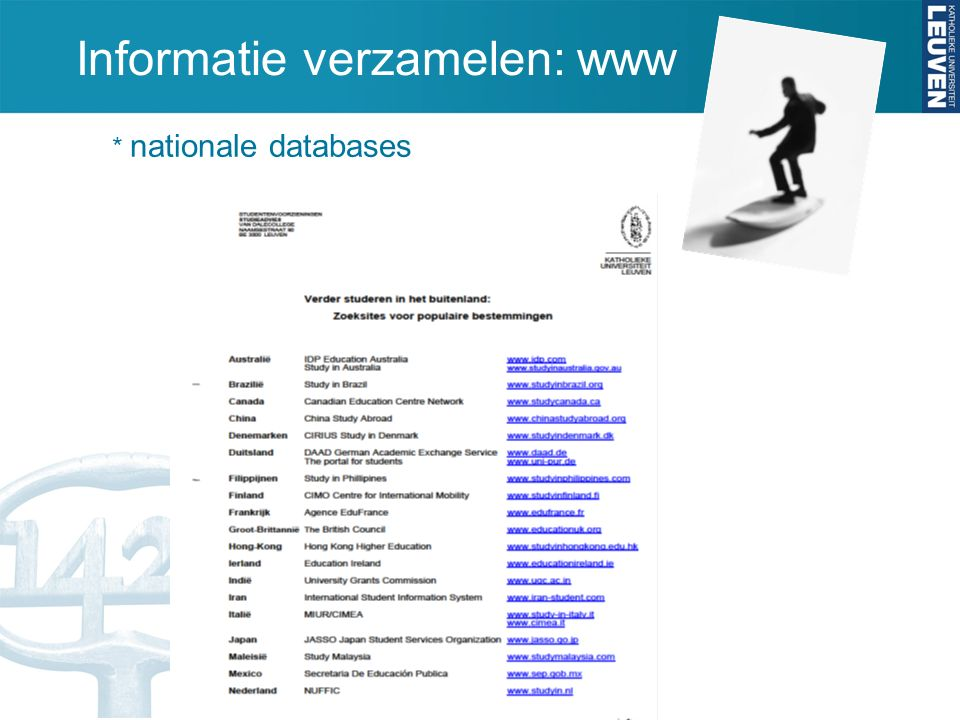 Informatie verzamelen: www * nationale databases