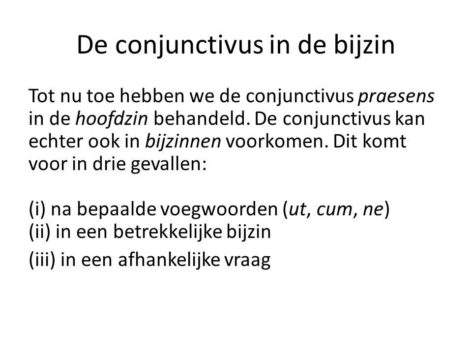 De conjunctivus in de bijzin Tot nu toe hebben we de conjunctivus praesens in de hoofdzin behandeld.