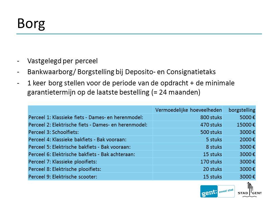 Borg -Vastgelegd per perceel -Bankwaarborg/ Borgstelling bij Deposito- en Consignatietaks -1 keer borg stellen voor de periode van de opdracht + de mi