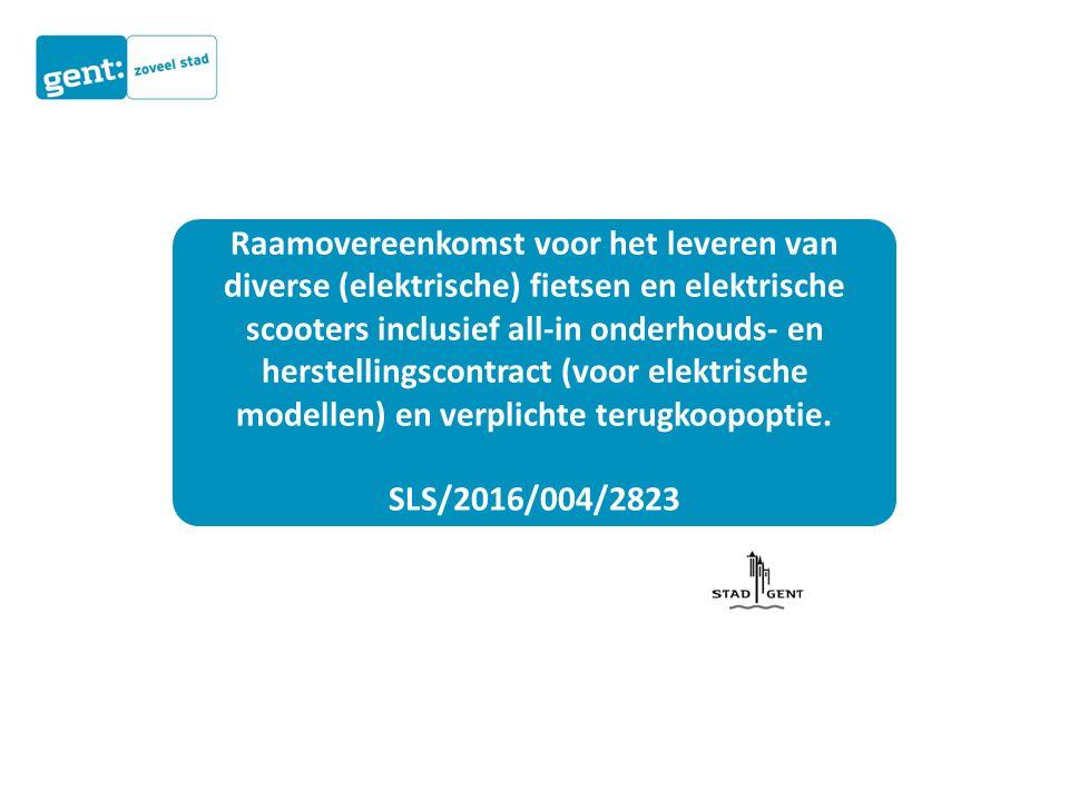 Raamovereenkomst voor het leveren van diverse (elektrische) fietsen en elektrische scooters inclusief all-in onderhouds- en herstellingscontract (voor