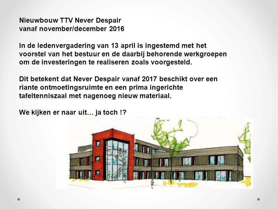 Nieuwbouw TTV Never Despair vanaf november/december 2016 In de ledenvergadering van 13 april is ingestemd met het voorstel van het bestuur en de daarbij behorende werkgroepen om de investeringen te realiseren zoals voorgesteld.