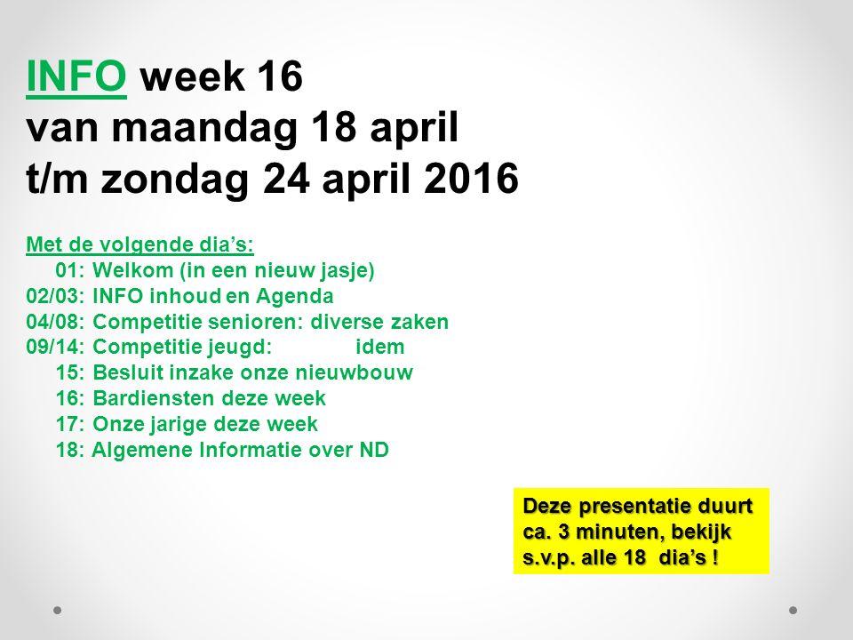 INFO week 16 van maandag 18 april t/m zondag 24 april 2016 Met de volgende dia's: 01: Welkom (in een nieuw jasje) 02/03: INFO inhoud en Agenda 04/08: