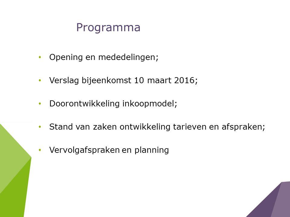 Programma Opening en mededelingen; Verslag bijeenkomst 10 maart 2016; Doorontwikkeling inkoopmodel; Stand van zaken ontwikkeling tarieven en afspraken