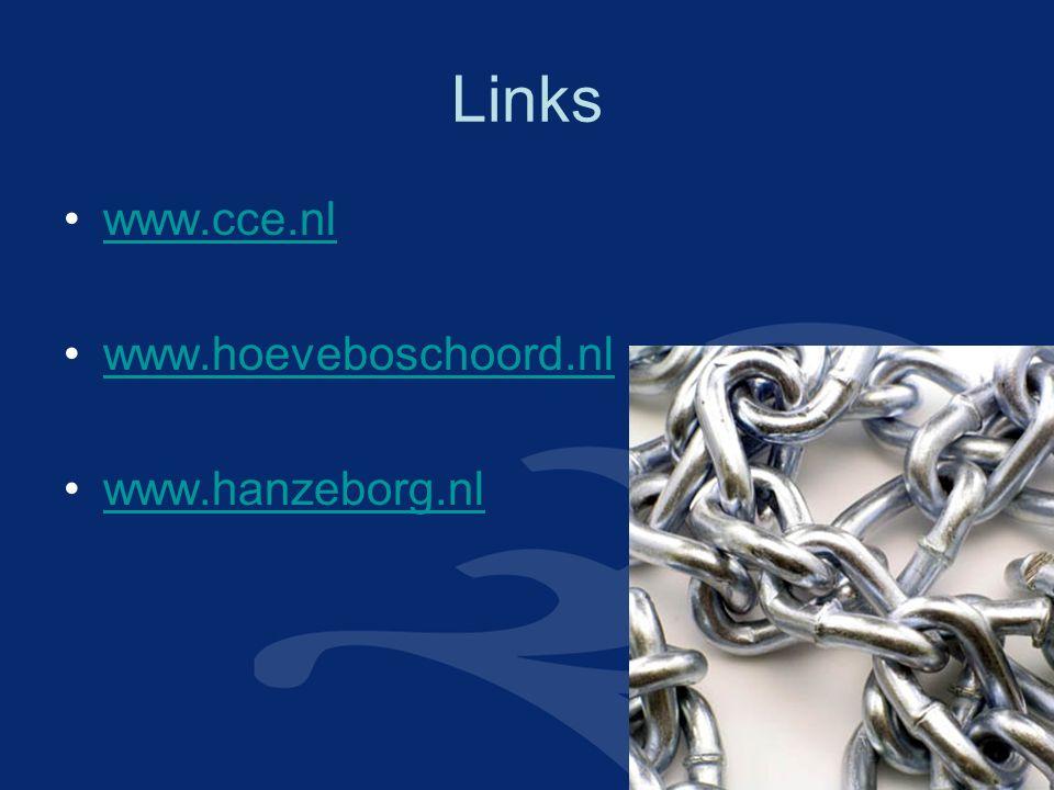 Links www.cce.nl www.hoeveboschoord.nl www.hanzeborg.nl