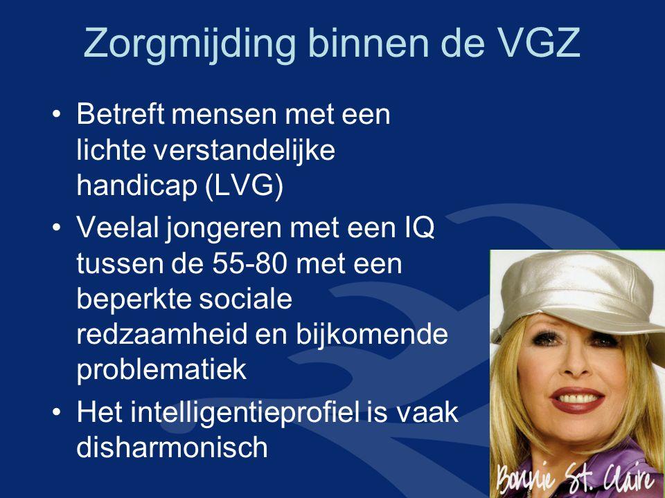 Zorgmijding binnen de VGZ Betreft mensen met een lichte verstandelijke handicap (LVG) Veelal jongeren met een IQ tussen de 55-80 met een beperkte soci