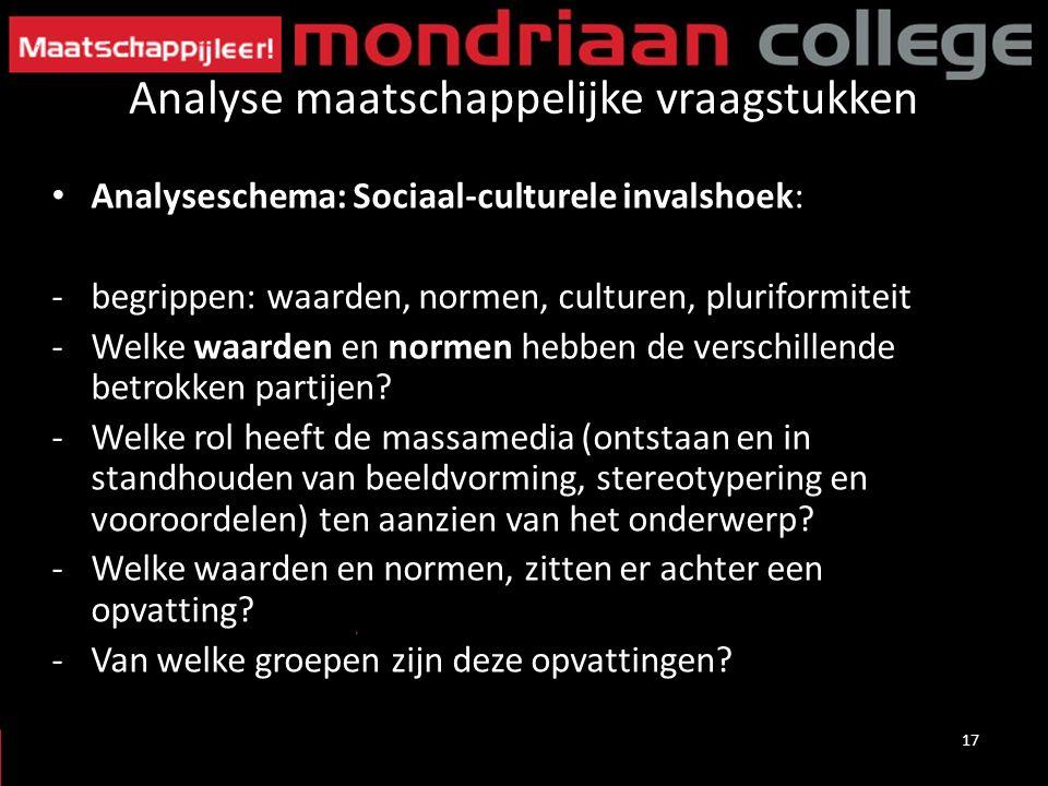 Analyse maatschappelijke vraagstukken Analyseschema: Sociaal-culturele invalshoek: -begrippen: waarden, normen, culturen, pluriformiteit -Welke waarden en normen hebben de verschillende betrokken partijen.