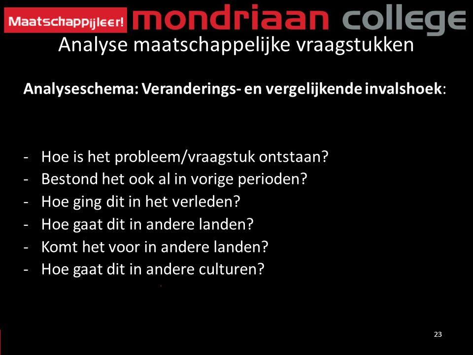 Analyse maatschappelijke vraagstukken Analyseschema: Veranderings- en vergelijkende invalshoek: -Hoe is het probleem/vraagstuk ontstaan.