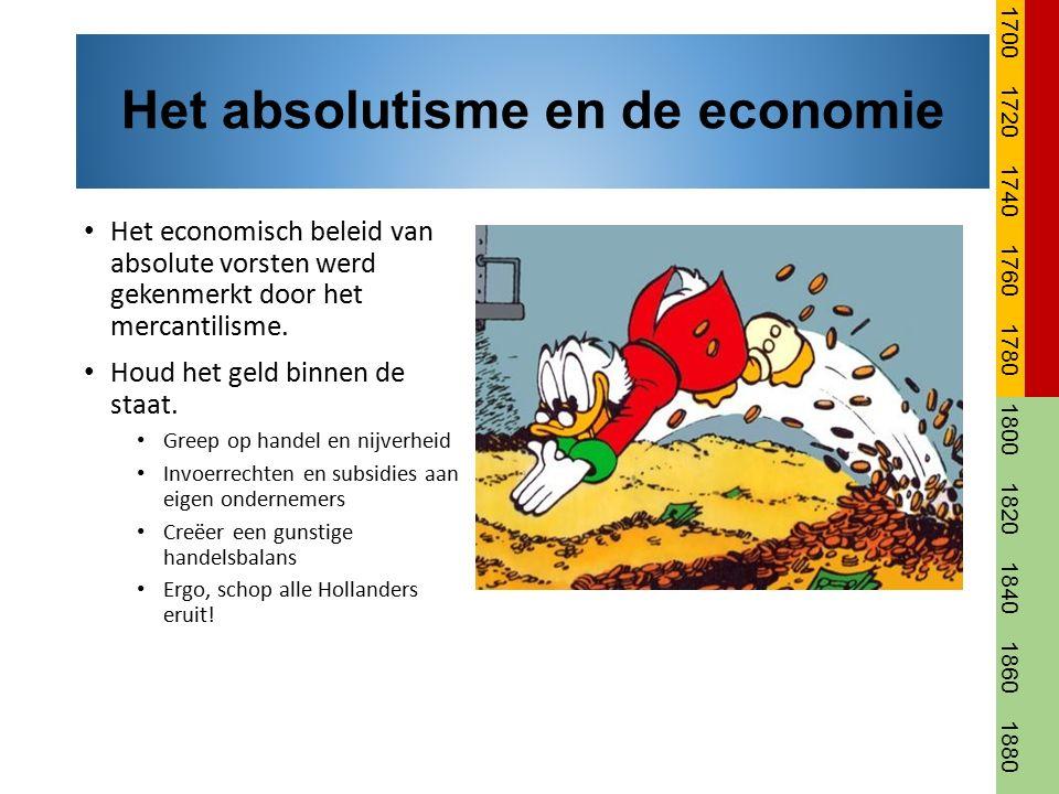 Het economisch beleid van absolute vorsten werd gekenmerkt door het mercantilisme. Houd het geld binnen de staat. Greep op handel en nijverheid Invoer